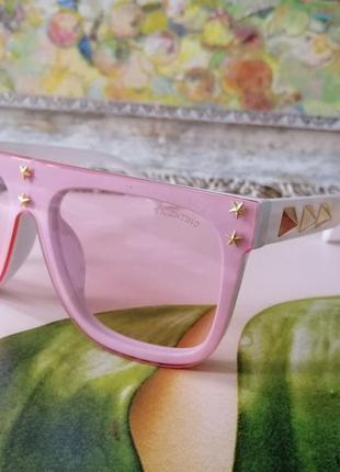 Эксклюзивные брендовые белые с розовым солнцезащитные женские очки
