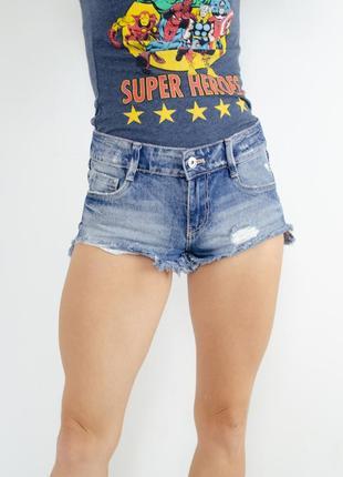Zara джинсовые короткие шорты с рваностями и потертостями на средней высокой посадке
