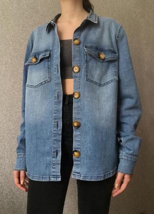 Джинсовая рубашка под джинс голубая синяя