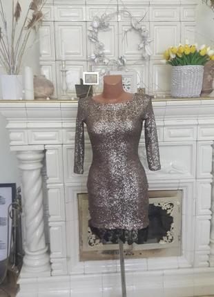 Золотое коктельное платье.
