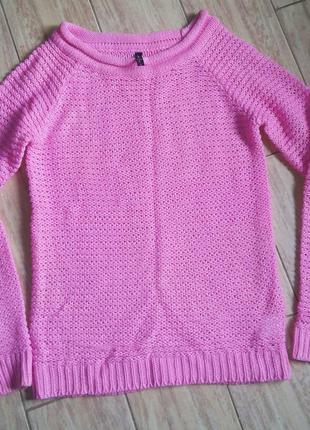 Вязанная кофта свитер розовая