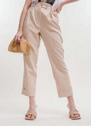 Укороченные штаны брюки свободного кроя с высокой талией
