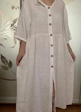 Льняное платье лён бохо оверсайз италия