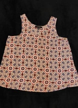 Акцентная блузка- майка  под пиджак, принт пейсли, s-m