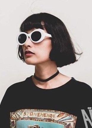 Шикарные солнцезащитные очки курта кобейна белые овальные унисекс ретро окуляри сонцезахисні