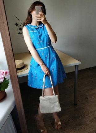 Платье мини ретро голубое велосипеды трапеция пышное с воротником м 10 хлопок