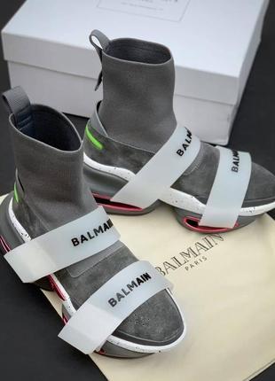 Кроссовки женские balmain b bold sock sneaker grey lux замшевые
