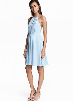 H&m нежное лёгкое платье с кружевной спинкой