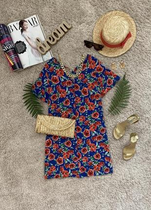 Распродажа!!! актуальное яркое летнее платье на пуговицах #300