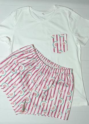 Пижама с белой футболкой и шортами в полоску арбузы