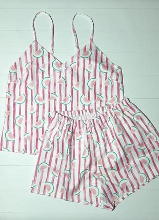 Пижама с майкой и шортами в полоску арбузы из натурального хлопка