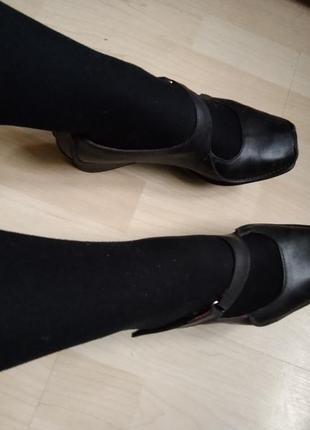 Кожаные туфли квадратный носок на платформе дышащие