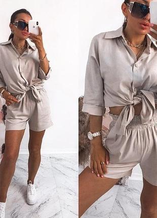 Жіночий костюм двійка шорти + сорочка