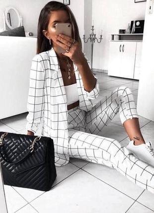 Костюм женский жакет пиджак брюки в клеточку белый