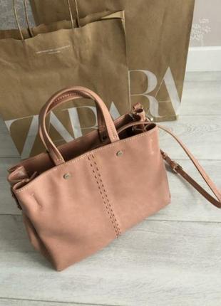 Кожаная сумка сумочка кроссбоди шопер zara