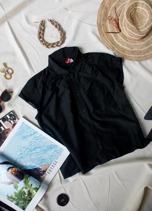 Базова чорна сорочка блуза шовк котон h&m