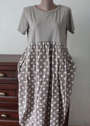 Шикарное платье в горошек, размер 54.