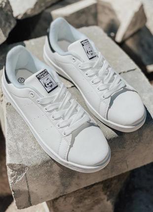 Кроссовки кеды adidas stan smith, белые с синим