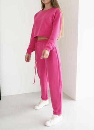 Шикарный прогулочный костюм спортивный малиновый фуксия