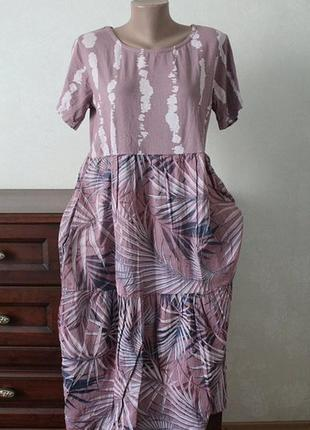 Шикарнре комфортное платье,натуралтные ткани,пог 52.