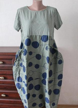 Стильное платье,натуралтные ткани, размер 54-56.