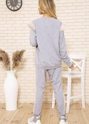 Серый прогулочный повседневный костюм батал полубатал летний хлопок  лето