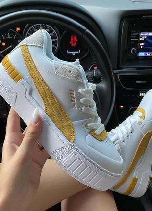 Женские кроссовки puma select cali sport white yellow.3 фото