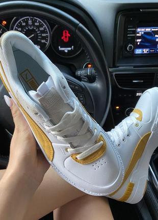 Женские кроссовки puma select cali sport white yellow.4 фото