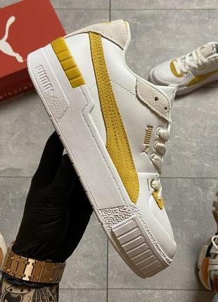 Женские кроссовки puma select cali sport white yellow.9 фото