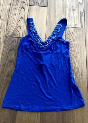 Синий летний топ майка ультрамарин индиго сапфир2 фото