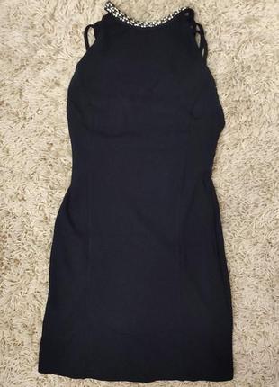Платье черное короткое стразы открытая спина по фигуре ожерелье сексуальное