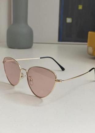 Брендовые очки «лисички» (кошачий глаз), розовое стекло