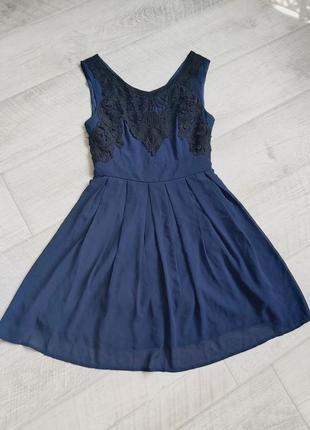 Синее шифоновое платье свободное с кружевом