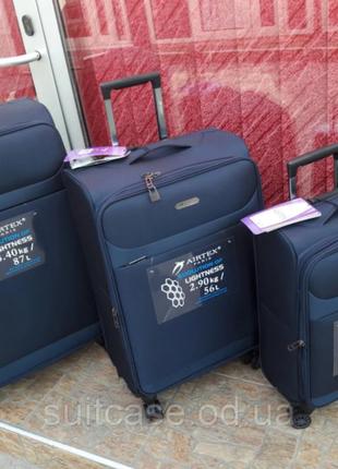 Ультра легкий тканевый чемодан под ручную кладь на 4-х кол. airtex 822 france
