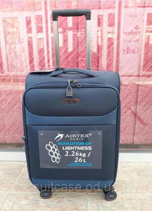Ультра легкий тканевый чемодан под ручную кладь на 4-х кол. airtex 822 france5 фото