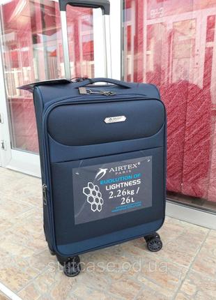 Ультра легкий тканевый чемодан под ручную кладь на 4-х кол. airtex 822 france7 фото