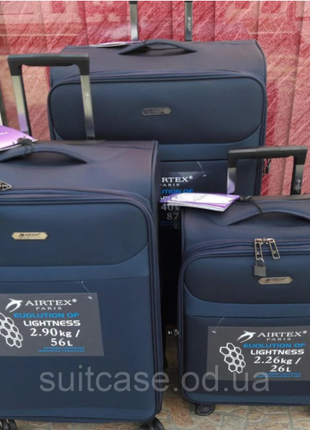 Ультра легкий тканевый чемодан под ручную кладь на 4-х кол. airtex 822 france9 фото