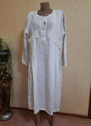 Льняное платье,  длинная рубаха лен италия