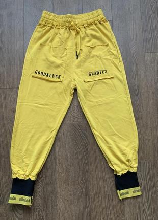 Брюки спортивные желтые, джогеры лето, спортивні штани жовті