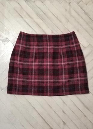 Трендовая мини юбка в клетку, шерсть, бордового цвета.
