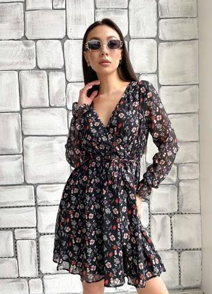 Платье с цветочным принтом шифоновое лёгкое лето