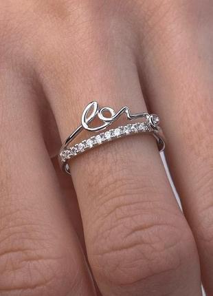 Серебряное кольцо в стиле минимализм,  love, 925, родированное серебро2 фото