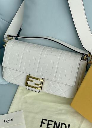 Fendi baguette white сумка оригинал