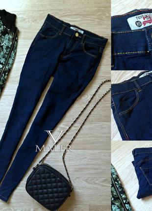 Синие джинсы скинни средней посадки terranova