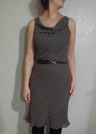 Платье миди бельевой стиль футляр трапеция колокол а силуэт принт полоска шифоновое