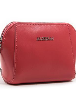 Компактная женская кожаная сумочка из натуральной кожи в красно-розовом цвете