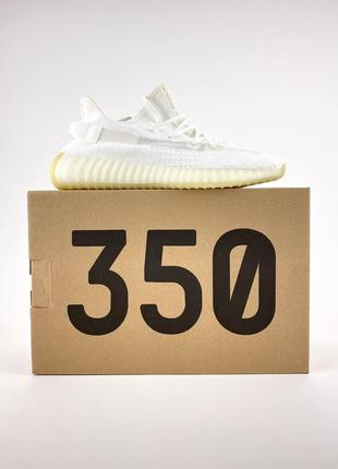 Стильные женские кроссовки кеды демисезонные adidas yeezy 350 белые текстильные