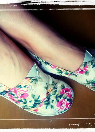 Слипоны с цветами балетки кеды кроссовки тапочки размер 37