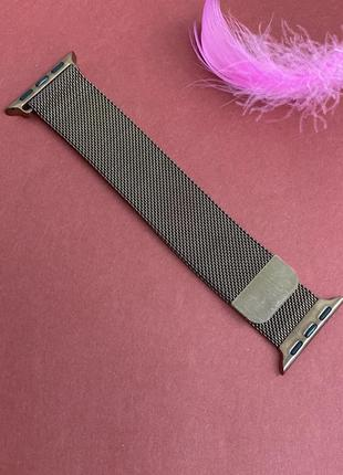 Браслет металлический для часов apple watch 42/44 mm кофе