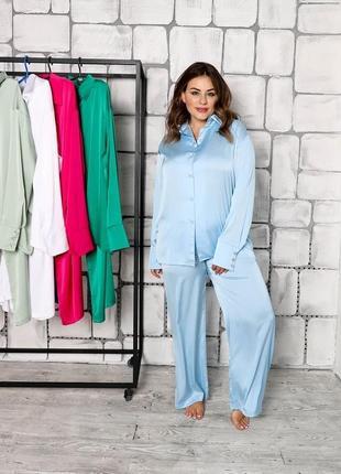 Шелковый комплект пижама рубашка штаны свободного кроя с пуговицами